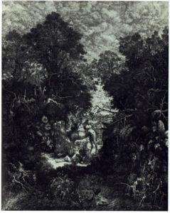 ③ロドルフ・ブレダン 《善きサマリア人》 石版画(リトグラフ) 1867年 出典:『Bresdin: Dessins et Gravures』 Dirk Van Gelder Chêne 1976年