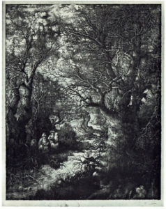 ④ロドルフ・ブレダン 《流れにのぞむ聖家族》 石版画(リトグラフ) 1855年 出典:『Bresdin: Dessins et Gravures』 Dirk Van Gelder Chêne 1976年