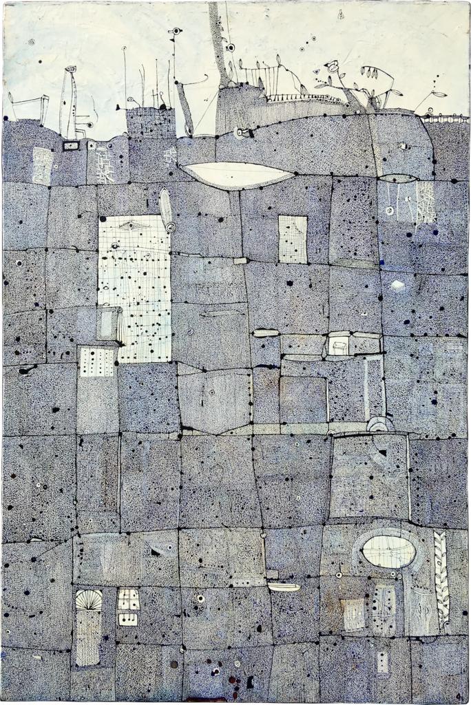 「時と空間(3)」 油彩・キャンバス・インク 91×61㎝ 2017~2020年