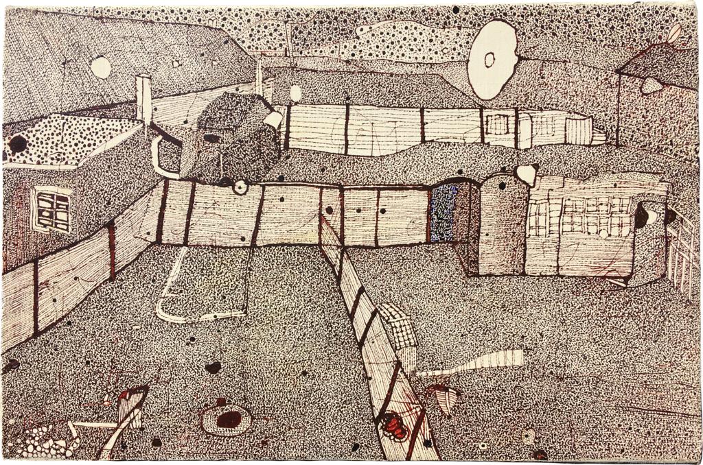 「ゴッホ《風景デッサン》(1)」 油彩・インク・キャンバス 22×33㎝ 2020年