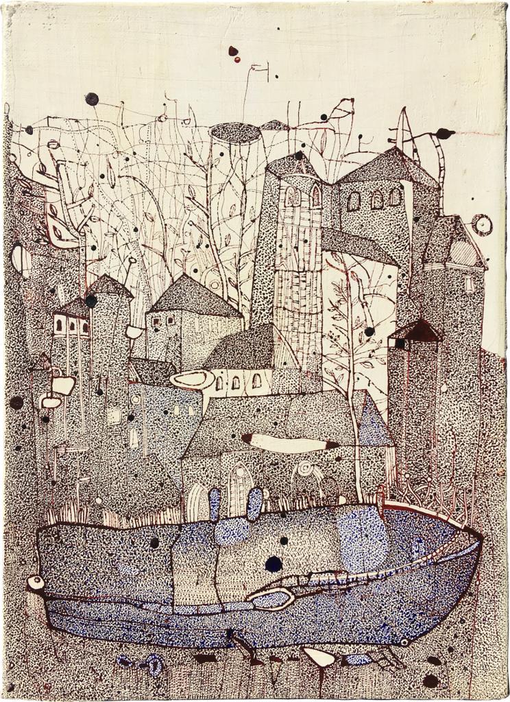 「聖堂と船(2)」 油彩・インク・キャンバス 33×24㎝ 2020年